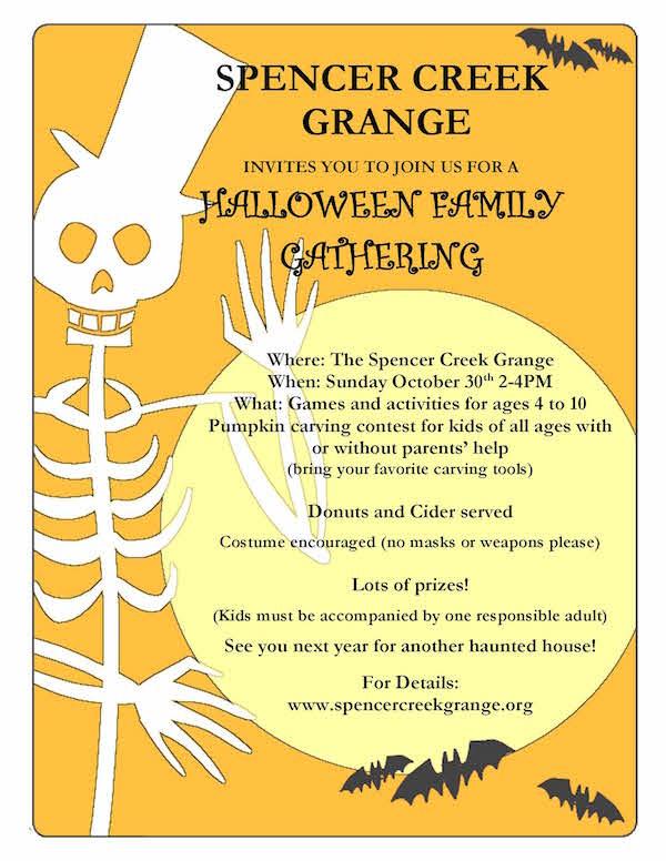 Halloween Family Gathering at the Spencer Creek Grange