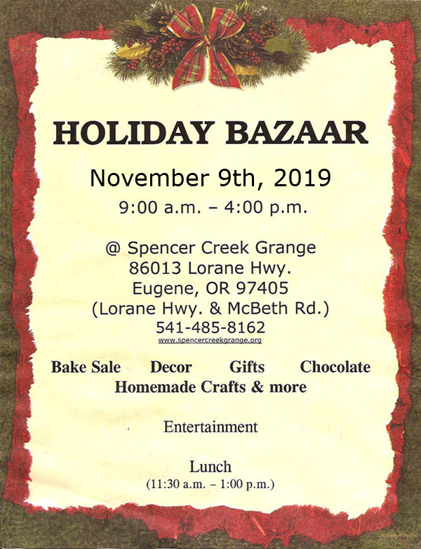 2019 Holiday Bazaar at the Spencer Creek Grange on November 9th
