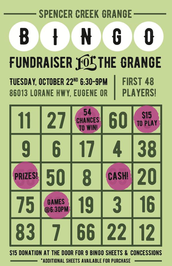 Bingo Night at Spencer Creek Grange on Oct 22nd