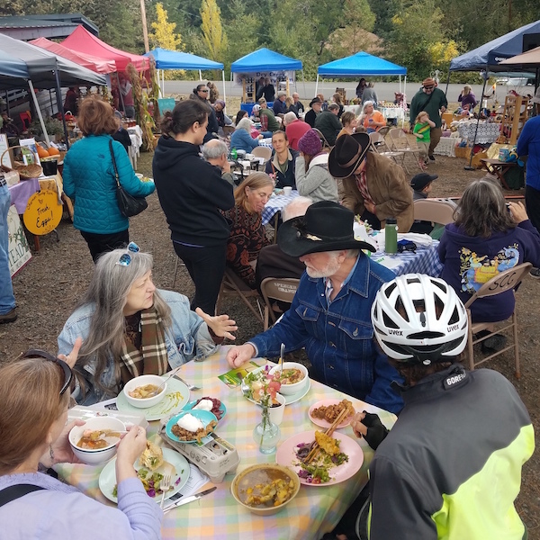 Visitors enjoy a scrumptious meal at the 2017 Harvest Festival